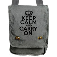 Keep Calm Carry On Messenger Bag Gray British Style Canvas Bag
