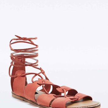 Deena & Ozzy Capri Lace Up Sandals in Peach - Urban Outfitters