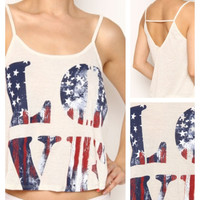 """In Style """"Love"""" American Flag Cami Tank Top"""