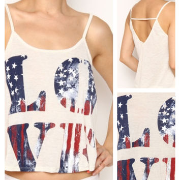 "In Style ""Love"" American Flag Cami Tank Top"