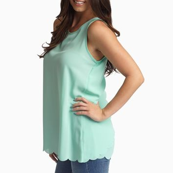 Mint Green Scalloped Trim Open Back Chiffon Tank Top
