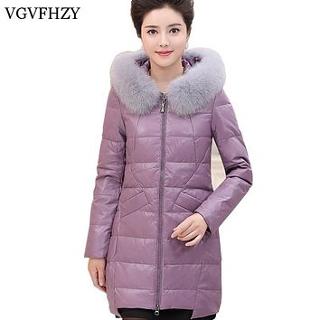 Women Winter Fox Fur Collar Hooded Jacket 90% White Duck Down Jacket Middle-aged mother Artificial Leather Coat Parka Oversize