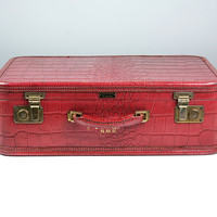 Vintage Red Leather Suitcase / Faux Alligator Luggage Suit Case / Red Suitcase / 1950s Suitcase / Top Grain Leather / Cow Hide / Photo Prop