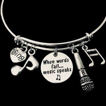When Words Fail Singer Music Notes Microphone Adjustable Charm Bracelet Silver Expandable Wire Bangle Musician Gift