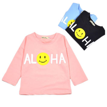 Baby Long Sleeve Shirt Fun Smiling Face Neutral Kids Clothes Little Boy Toddler Girl Graphic Tee YM14CX