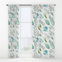 Watercolor Teal Green Teal Blue Leaves Pattern Window Curtains by DazzetteMarie