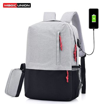 MAGIC UNION Men Laptop Backpack For 15.6 inch USB Charging Backpacks Computer Anti-theft Bags Male Gray Daypack Women Mochila