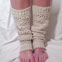 Oatmeal Lace Stitch Crochet Leg Warmer