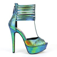 Fahrenheit Divina-16 Open-toe Platform Pumps in Blue @ ippolitan.com