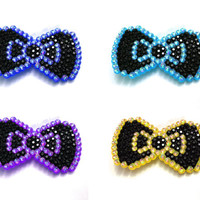 Sparkly Custom Coloured Bow Hair Clip with Pointed Stud Edge Rainbow Crystal - Kawaii Decora Cute