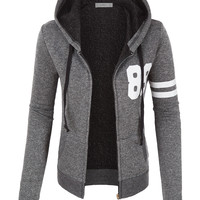 LE3NO Womens Varsity French Terry Full Zip Up Hoodie Jacket