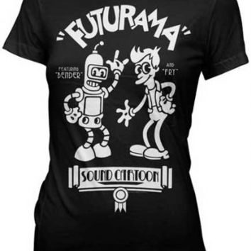 Futurama Old Timey Bender & Fry Sound Cartoon Black Juniors T-shirt - Futurama - | TV Store Online