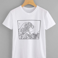 Roaring Waves Graphic T-Shirt from Love - W/O - Disdain