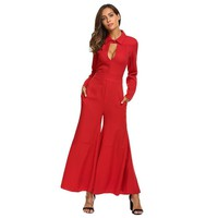 Red Collar Long Sleeve Jumpsuit