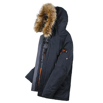 Men Padded Parka Cotton Coat Winter Jacket Winter Coat Thick Parkas Artificial Fur