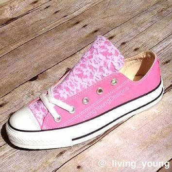 CREYUG7 Lace Converse Shoes Low rise   Beach Converse   Wedding b987ce4b51