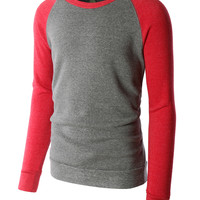 LE3NO PREMIUM Mens Color Block Raglan Fleece Pullover Sweatshirt