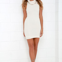 Close for Comfort Cream Sweater Dress