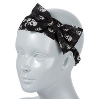 Black and White Skull Print Bow Headwrap – Claire's