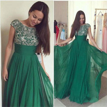 Green Chiffon Long Prom Dresses 2017 Heavily Beaded  Cap Sleeves Crystals A-line Floor Length Seniors Formal Evening Prom Party