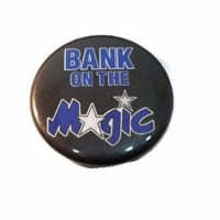 Vintage NBA Bank On The Magic Pin Orlando Magic Basketball Pin Team Button Shaq Black Blue White Retro Father's Gift Pin