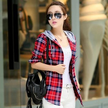 New Arrival 2016 Autumn Cotton Long Sleeve Red Checked Plaid Shirt Women Hoodie Casual Fit Blouse M-XXL Sweatshirt