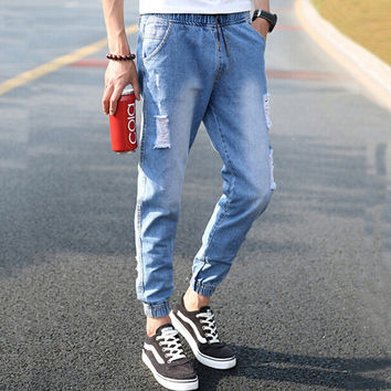 Men Stylish Strong Character Ripped Holes Pants Jeans [6528925891]
