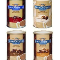 Ghirardelli Hot Cocoa Variety Pack: Double Chocolate, White Mocha, Chocolate Hazelnut and Chocolate Mocha, 16 oz each (4 Pack)
