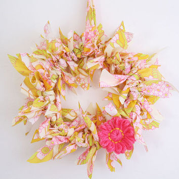 Summer Wreath Spring, Easter Rag Wreath, Indoor Fabric Floral Door Wreath, Vintage Fabric & Pink Yarn Flower