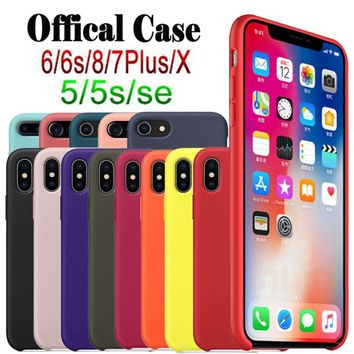 Original official Silicone Case For iphone 7 For Apple case For iPhone 8 Plus Cover For iPhone X 6 6S Plus Have LOGO Retail Box