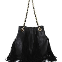 Fringed Shoulder Bag in Black
