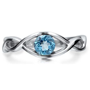 Sterling Silver 925 Woven Natural Blue Topaz Gemstone Solitaire Ring #r453