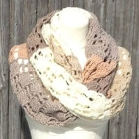 Super Extra Long Scarf Shades of Beige Crochet Oversized Handmade Soft and Fluffy