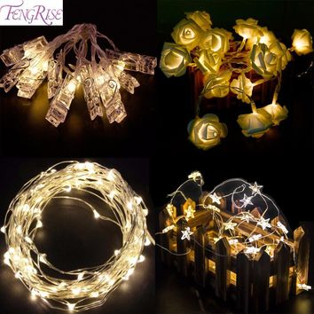 FENGRISE 2m5m LED String Copper Wire Light Battery Operated Night Light Romantic Wedding Party Decoration Valentines Day Decor
