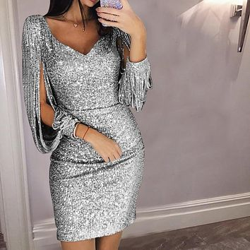 Women Dress Sexy V-neck Evening Ball Gowns Glitter Sequins Shiny Bodycon Mini Dress Party Birthday Activity Wedding Women Dress