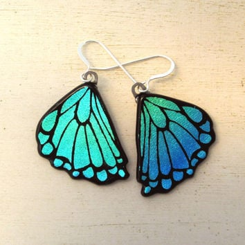 Butterfly Wing Fused Glass Earrings Rear Wings Green Blue