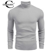 COOFANDY 2017 Male Fit Slim Clothes Men Ribbed Knit Turtleneck Long Sleeve Slim Fit Pullover Sweater