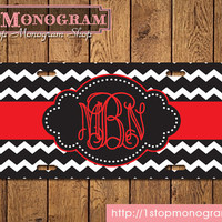 Front license plate - Black and white chevron with bright red monogram - personalized gift monogrammed car tag front car tag - C007