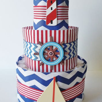 Nautical Diaper Cake, Sailor Diaper Cake, Nautical Baby Shower Centerpiece, Baby Boy Shower Decor, Ahoy It's A Boy Baby Shower