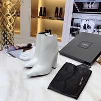 YSL Yves Saint Laurent  fashion female Stretch Knit leather Leather Zipper Ankle Short Boots Flats High Heels Shoes Winter Autumn white