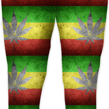 420 ganja and flag pattern jogging pants, weed themed joggers, pot design