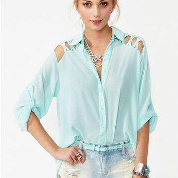 Laced Tail Blouse - Sky Blue