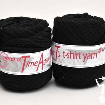 Boogyman Black t-shirt yarn 58 yards upcycle recycle craft crochet knitting supply