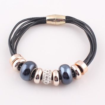 Bracelet   Jewelry  Leather Bracelet for Women Bangle Europe Beads Charms Magnetic Clasp Bracelet
