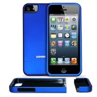 """KHOMO ® Blue Slider """"Dock Friendly"""" Case with Rubberized texture for Apple iPhone 5 / 5s"""