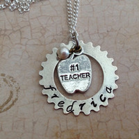 No. 1 teacher charm necklace. Teacher name necklace. Sterling silver and silverplated.