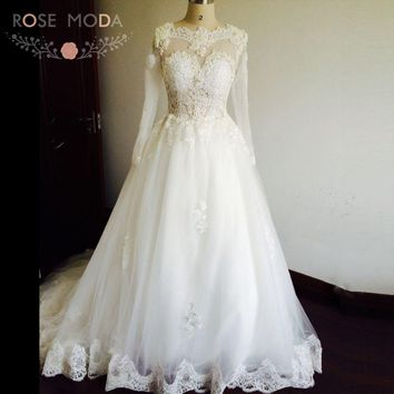 See Through Back Sexy Illusion Top Pearls Lace Ball Gown Wedding Dress with Long Sleeves Real Photos