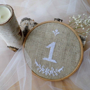 Embroidered Wedding Table Number, Hoop Embroidery, Handmade Wedding, Burlap Wedding Decoration, Country Style Wedding, Rustic Burlap