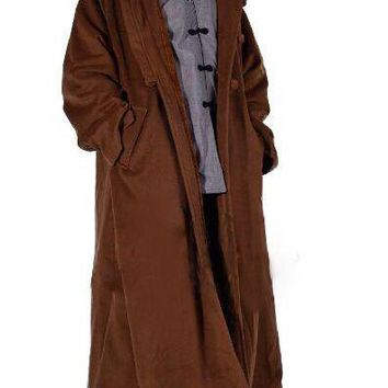4color unisex Buddhist monks meditation cloak winter warm coat cape lay garments abbot nun martial arts robe red/brown/yellow