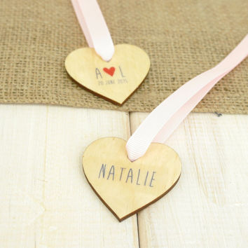 Personalised Wooden Hearts Bride Groom Initials Save the Date Guest Table Placement Favours Napkin Ring Keepsake Set of 10 Handwritten Style